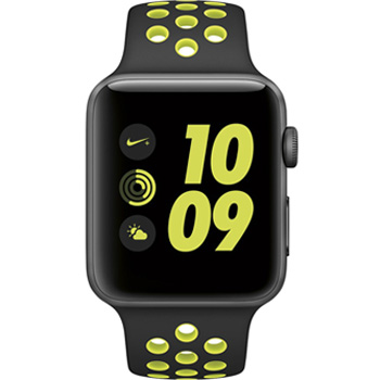 Apple Watch Nike  42mm Space Gray Aluminum Case with Black/Volt Sport Band