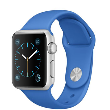 Apple Watch Silver Case With Royal Blue Sport Band 42mm