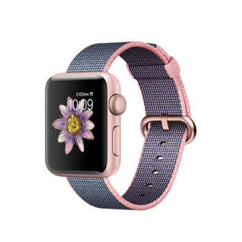 Apple Watch 2 Rose Gold with Light Pink Midnight Blue Woven Nylon 38mm