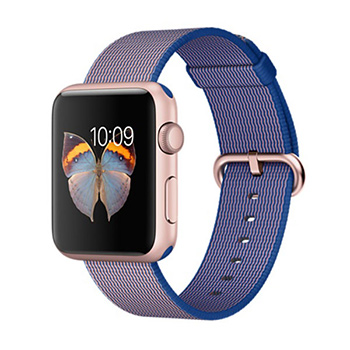 Apple Watch Rose Gold Case with Royal Blue Woven Nylon 38mm