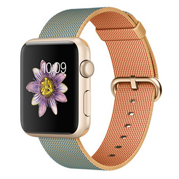 Apple Watch Gold Case with Gold Royal Blue Woven Nylon 42mm