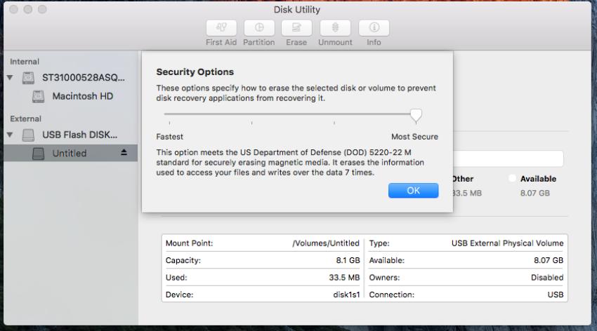 تنظیمات امنیتی و بازیابی اطلاعات درایوها در مک