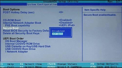 گزینه Secure Boot