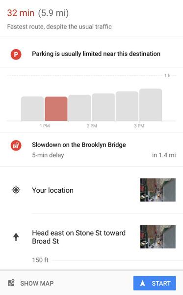 گوگلمپس بهترین زمان حرکت به سوی مقصد را اعلام میکند