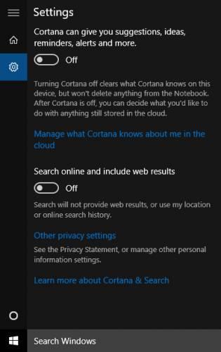 محافظت از حریم خصوصی در ویندوز 10 - کورتانا