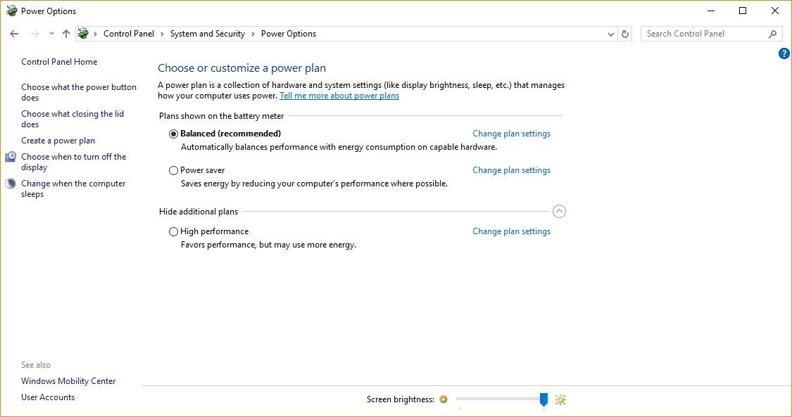 تنظیمات Power Plan در ویندوز 10