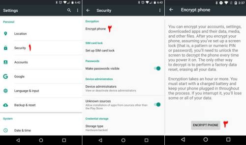 گزینه فعال سازی رمزگذاری