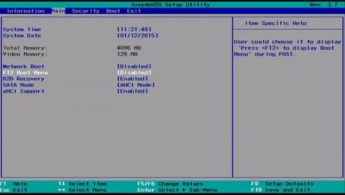 boot menu in bios