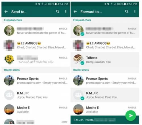 ارسال همزمان پیام به چند گروه، در نسخه بتای واتساپ فراهم شد