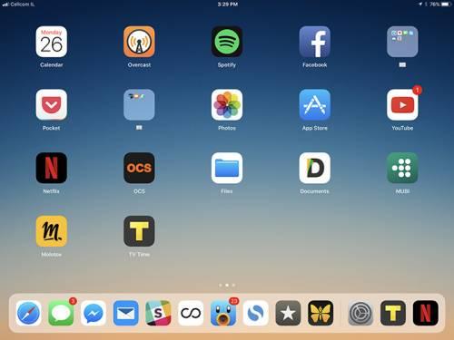 محیط iOS در آیپد
