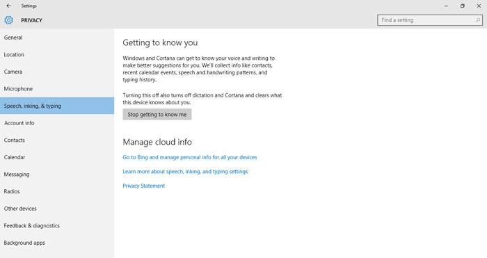 محافظت از حریم خصوصی در ویندوز 10 - موتور جستجوگر بینگ